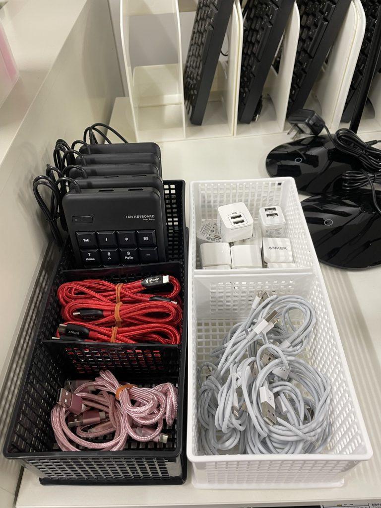 無料貸出備品の充電ケーブル